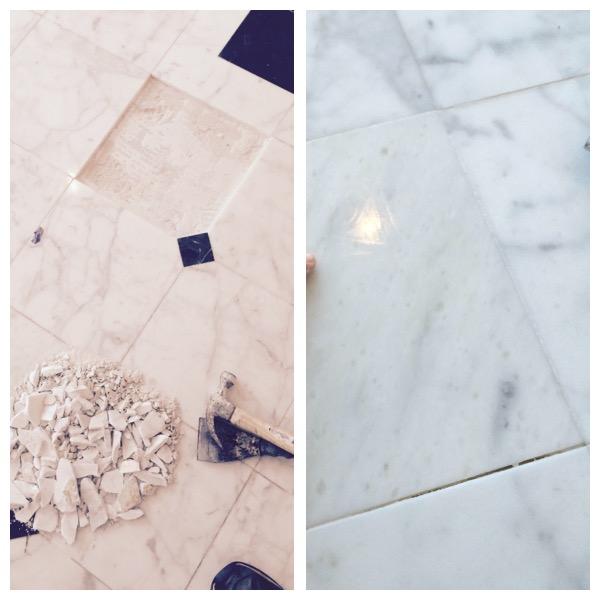 Cracked White Carrara Marble Restored Mclean Va Zoltan