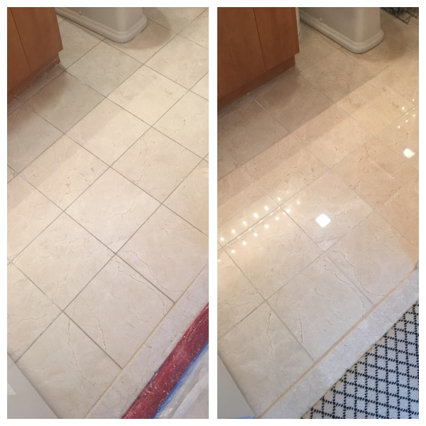 Crema Marfil Stone Floor in Bathroom Treated in Annapolis, MD