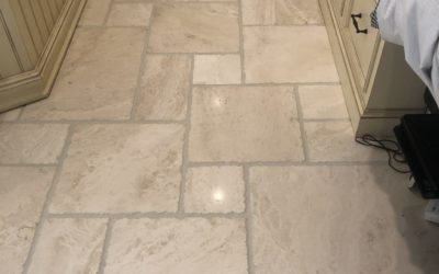 Grout ReColoring and Travertine Floor Restoration | Bethesda,MD